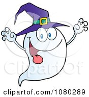 Clipart Scaring Ghost Holding His Hands Up And Wearing A Witch Hat Royalty Free Vector Illustration by Hit Toon