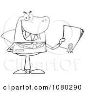 Clipart Outlined Shark Businessman Holding A Bad Contract In His Hand Royalty Free Vector Illustration