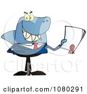 Clipart Shark Businessman Holding A Bad Contract In His Hand Royalty Free Vector Illustration by Hit Toon