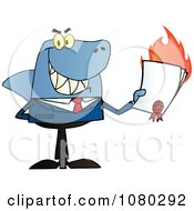 Clipart Shark Salesman Holding A Bad Contract In His Hand Royalty Free Vector Illustration
