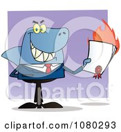Clipart Shark Businessman Holding A Flaming Bad Contract In His Hand Royalty Free Vector Illustration
