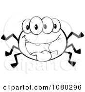 Clipart Four Eyed Black And White Spider Royalty Free Vector Illustration by Hit Toon