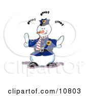 Police Snowman Directing People To Stop Clipart Illustration by Spanky Art