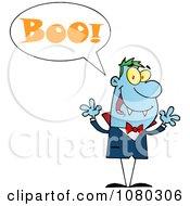 Clipart Blue Halloween Vampire Screaming Boo Royalty Free Vector Illustration