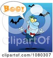 Clipart Halloween Vampire Screaming Boo Under Bats On Blue Royalty Free Vector Illustration