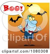 Clipart Halloween Vampire Screaming Boo Under Bats On Orange Royalty Free Vector Illustration