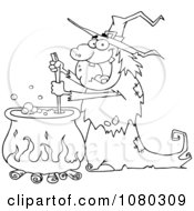 Outlined Warty Halloween Witch Stirring A Potion In A Cauldron