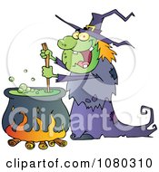 Clipart Warty Halloween Witch Stirring A Potion In A Cauldron Royalty Free Vector Illustration