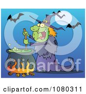 Clipart Warty Halloween Witch Stirring A Potion Under Bats On Blue Royalty Free Vector Illustration