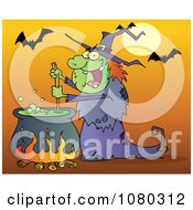 Clipart Warty Halloween Witch Stirring A Potion Under Bats On Orange Royalty Free Vector Illustration