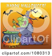 Clipart Happy Halloween Over A Witch Stirring A Potion Under Bats On Orange Royalty Free Vector Illustration