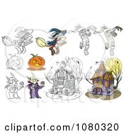 Colored And Outlined Halloween Witches Mummies Jackolanterns Vampires And Haunted Houses
