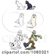 Colored And Outlined Halloween Cats Ghosts And Frankensteins