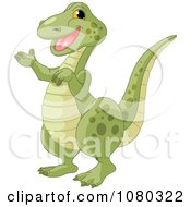 Clipart Cute Friendly T Rex Presenting Royalty Free Vector Illustration