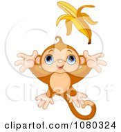 Clipart Cute Monkey Leaping For A Banana Royalty Free Vector Illustration by Pushkin