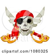 Clipart Pirate Skull And Crossed Swords With An Eye Patch Royalty Free Vector Illustration by Pushkin