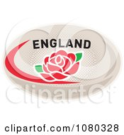 Clipart Rose On An England Rugby Ball Royalty Free Vector Illustration