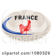 Clipart Rooster On A France Rugby Ball Royalty Free Vector Illustration