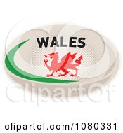 Clipart Dragon On A Wales Rugby Ball Royalty Free Vector Illustration