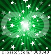 Green Starry Burst And Rays Background