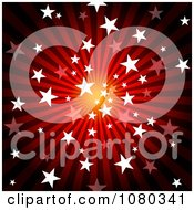 Red Starry Burst And Rays Background