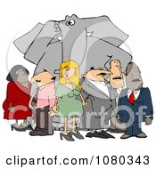 Clipart Group Of People Ignoring The Elephant In The Room 2 Royalty Free Illustration by djart