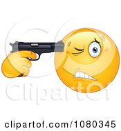 Clipart Suicidal Emoticon Holding A Gun To His Head Royalty Free Vector Illustration