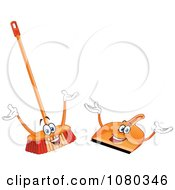Clipart Happy Broom And Dust Pan Royalty Free Vector Illustration