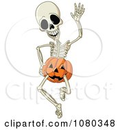 Happy Skeleton Waving And Wearing Jackolantern Shorts