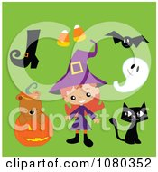 Clipart Cute Halloween Witch Boot Candy Corn Bat Ghost Black Cat And Bear In A Pumpkin Royalty Free Vector Illustration by peachidesigns