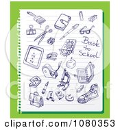 Clipart Blue Ink School Doodles On Ruled Paper Over Green Royalty Free Vector Illustration by Eugene