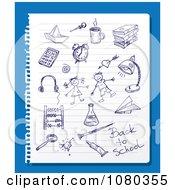 Blue Ink School Doodles On Ruled Paper Over Blue