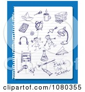 Clipart Blue Ink School Doodles On Ruled Paper Over Blue Royalty Free Vector Illustration by Eugene