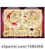 Clipart Aged Paper With Halloween Sketches Royalty Free Vector Illustration
