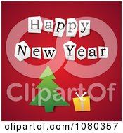 Clipart Cut Happy New Year Letters Over A Christmas Tree And Gift On Red Royalty Free Vector Illustration