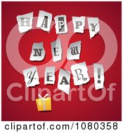 Clipart Torn Happy New Year Letters Over A Gift On Red Royalty Free Vector Illustration