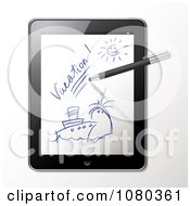 Clipart 3d Stylus Pen Drawing A Cruise Vacation Scene On A Tablet Royalty Free Vector Illustration by Eugene