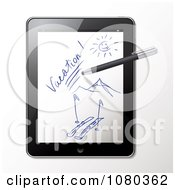 Clipart 3d Stylus Pen Drawing A Ski Vacation Scene On A Tablet Royalty Free Vector Illustration by Eugene