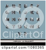Clipart Black And White Urban Styled Alphabet Set On Blue Royalty Free Vector Illustration