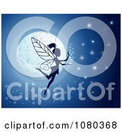 Clipart Silhouetted Fairy Against A Glowing Moon With Sparkles On Blue Royalty Free Vector Illustration