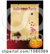 Clipart Grungy Halloween Party Frame With A Spider Web And Jackolantern Royalty Free Vector Illustration