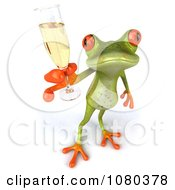 3d Springer Frog Holding A Champagne Glass 3