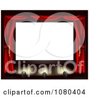 Clipart Blank Cinema Screen With Red Drapes And Spot Lights On The Stage Royalty Free Vector Illustration by AtStockIllustration