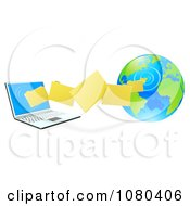 Clipart 3d Files Transfering From A Globe To A Laptop Computer Royalty Free Vector Illustration by AtStockIllustration