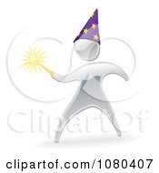 Clipart 3d Silver Warlock With A Magic Wand Royalty Free Vector Illustration