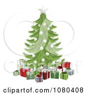 Clipart 3d Christmas Tree With A White Star And Baubles Over Gifts Royalty Free Vector Illustration