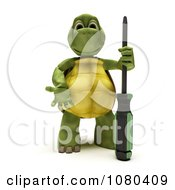 3d Tortoise Standing With A Screwdriver