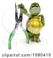 3d Tortoise Standing With A Pair Of Pliers