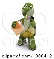 Clipart 3d Tortoise With A School Book And Crayons Royalty Free CGI Illustration by KJ Pargeter