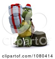 Clipart 3d Tortoise Carrying Christmas Gift Boxes Royalty Free CGI Illustration